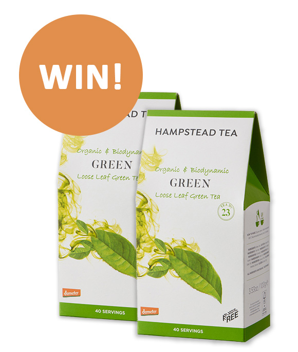 Win organic green tea from  Hampstead Tea company