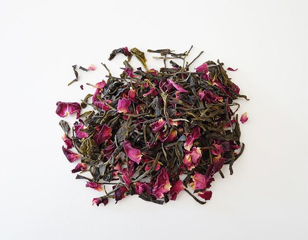 green tea with rose petals