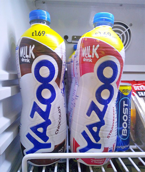 Yazoo milk drinks (chocolate and strawberry)
